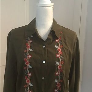 J. Jill Embroidered Button Down Blouse
